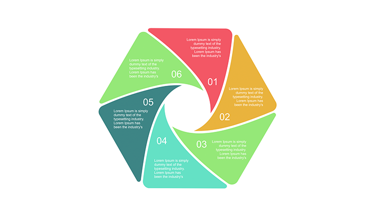 6 step polygon diagram for Powerpoint