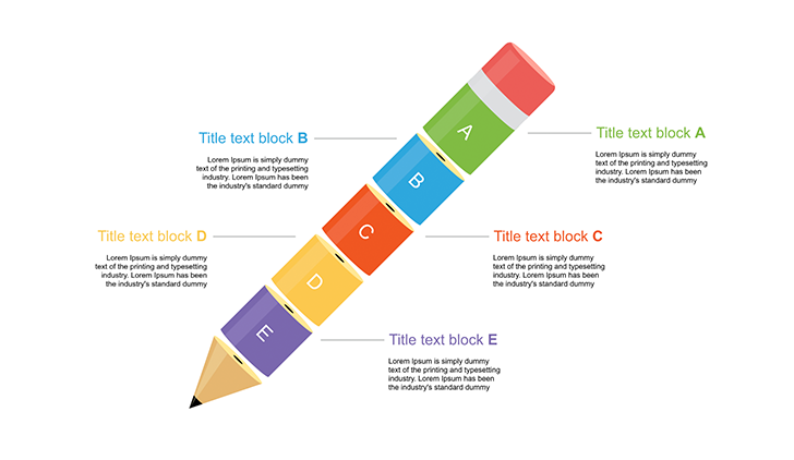 5 Levels 3d Pencil for ppt