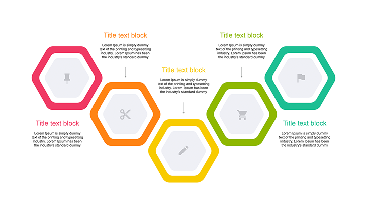 Hexagon timeline 5 step for ppt