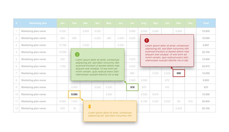 Marketing plan table tooltips PPT