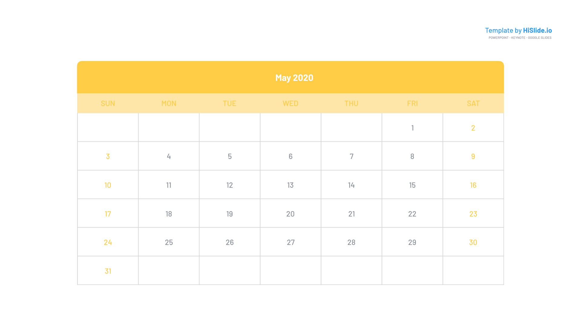 May 2020 Calendar template for Powerpoint