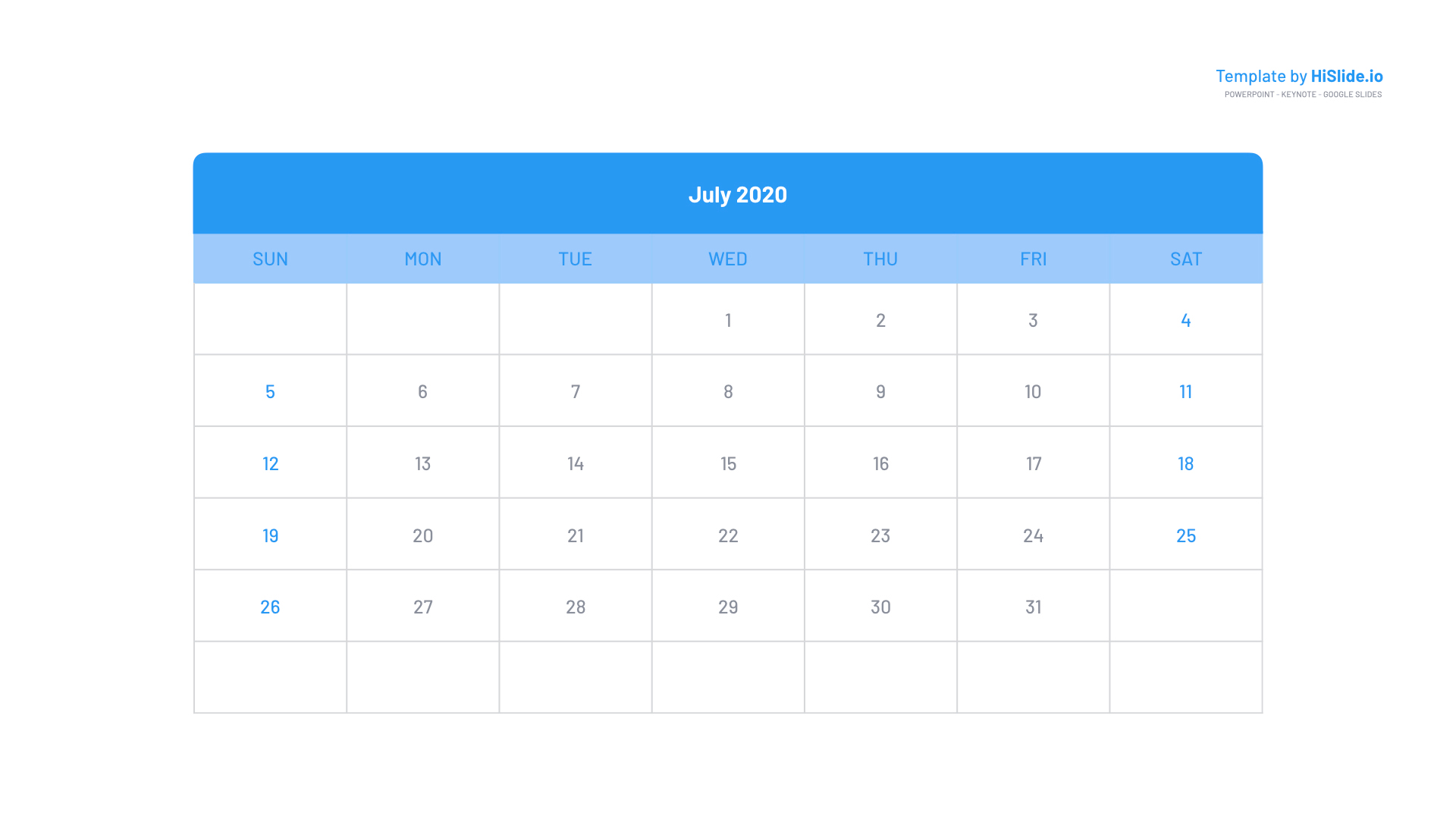 July 2020 Powerpoint Calendar