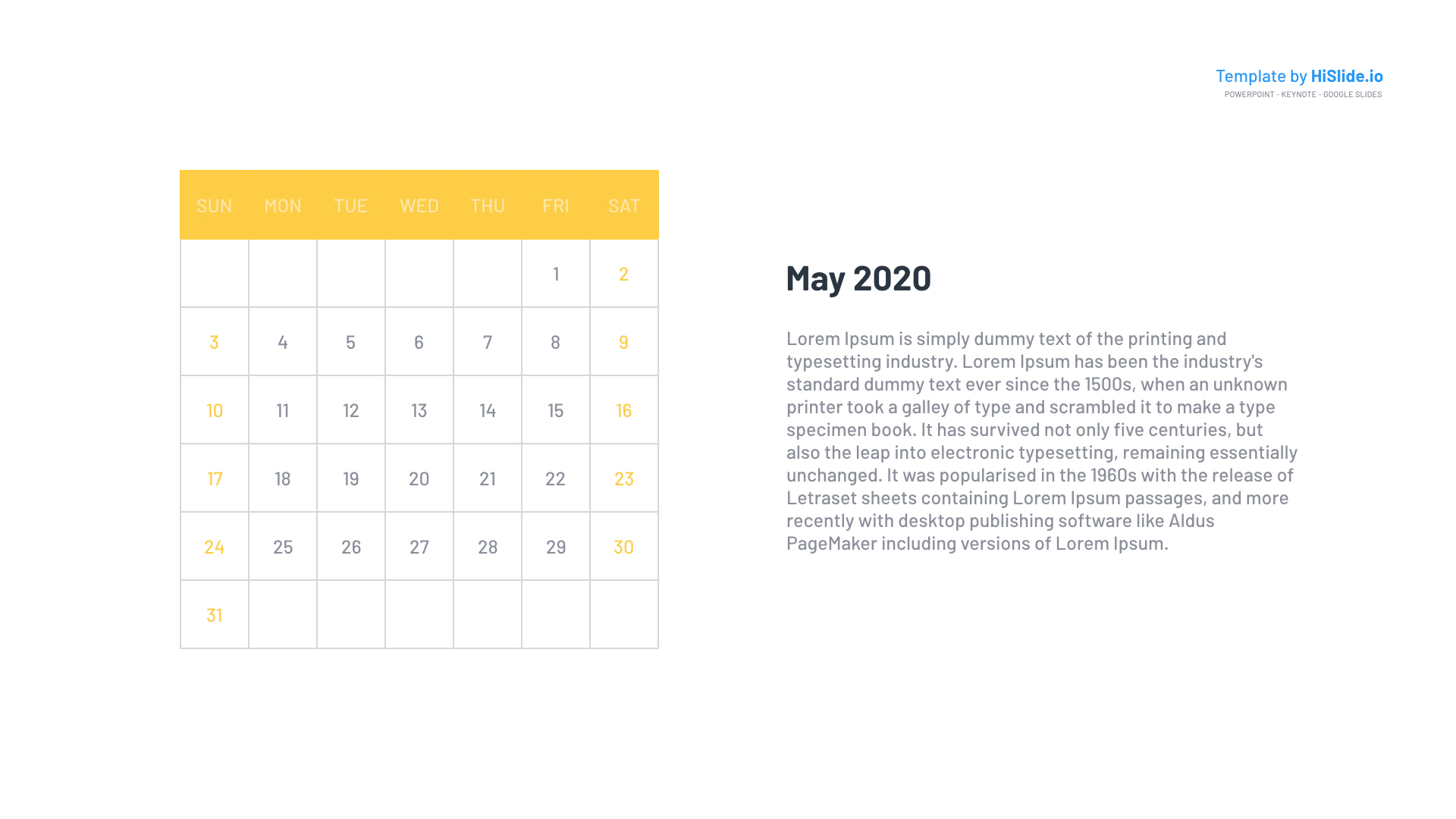 May 2020 Monthly Calendar Powerpoint
