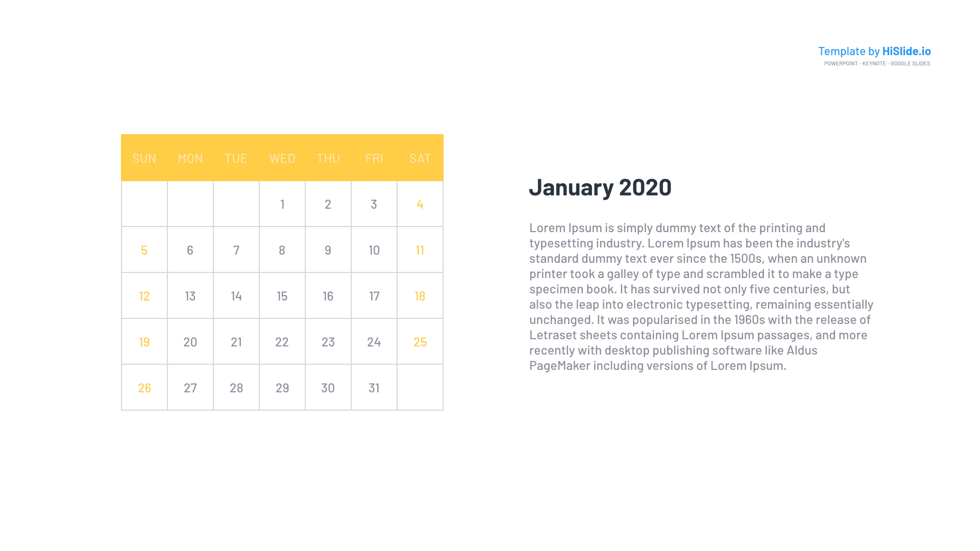January 2020 Monthly Calendar Powerpoint template