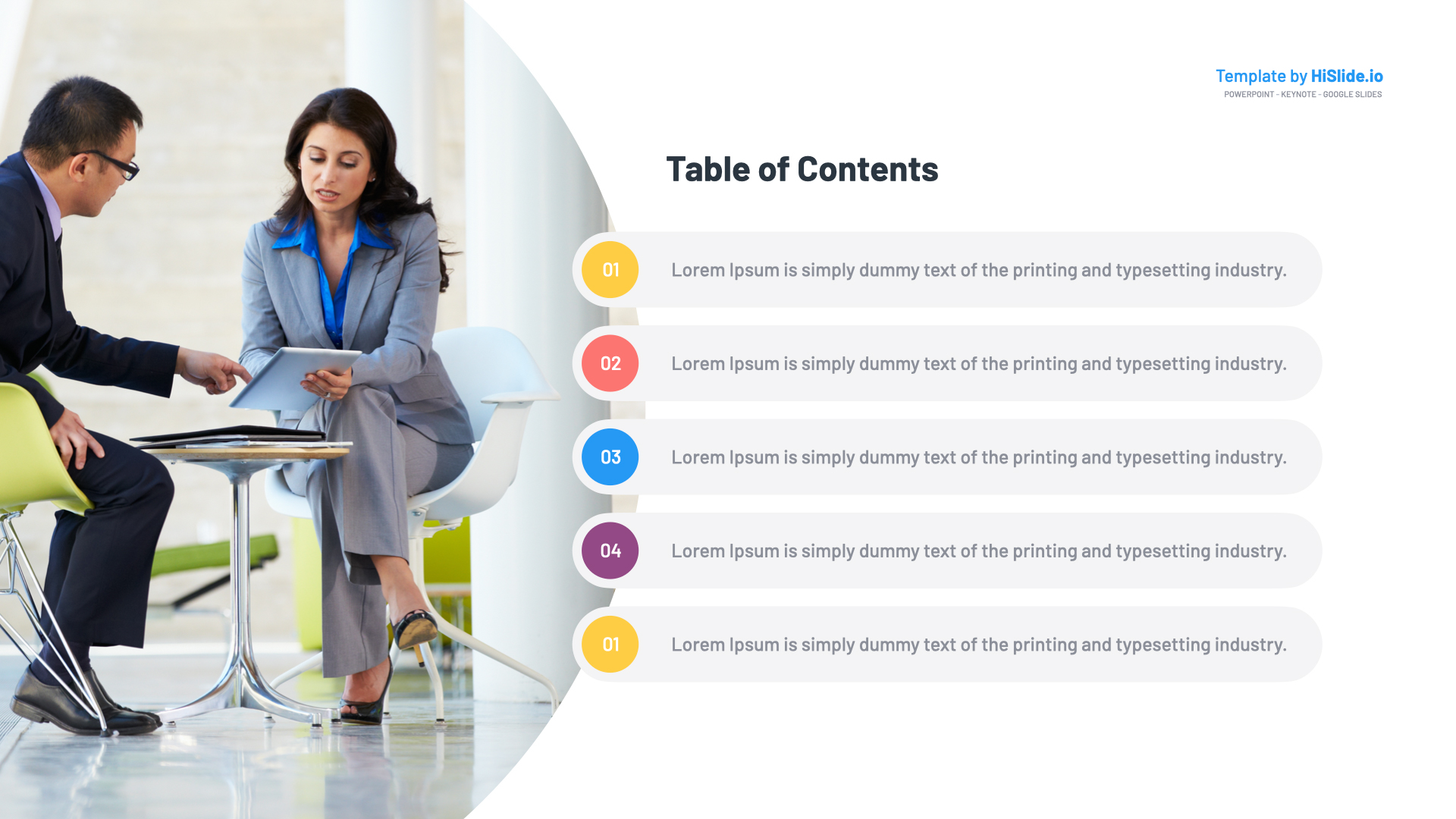 Template Table of Content Powerpoint