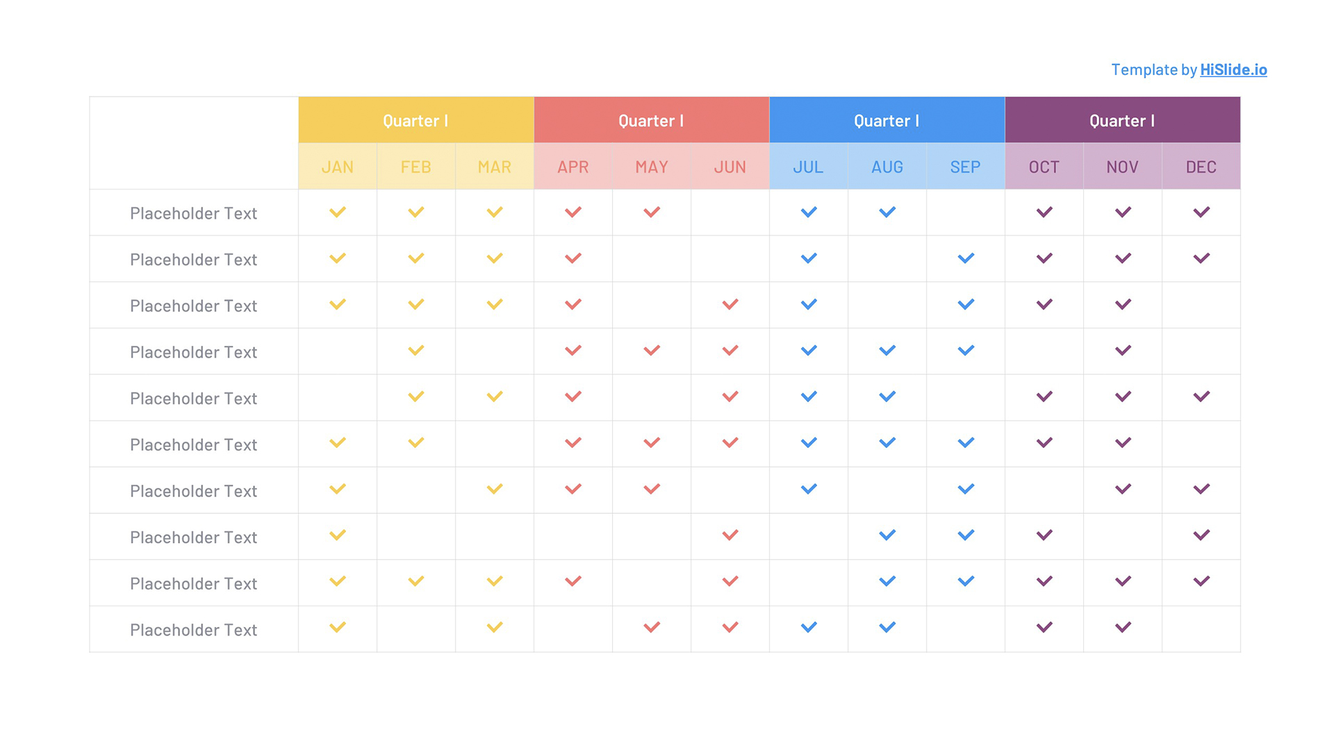 Year Planning table PowerPoint template