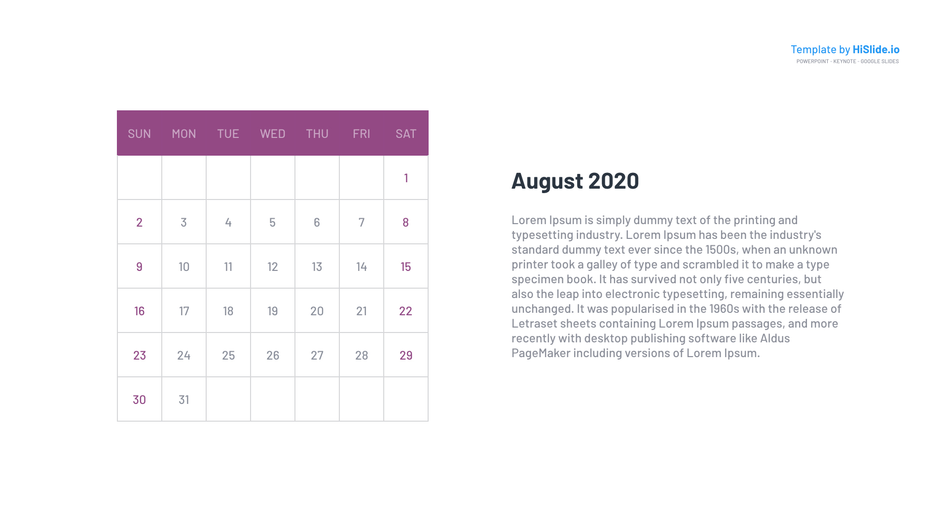 August 2020 Calendar Google slides themes