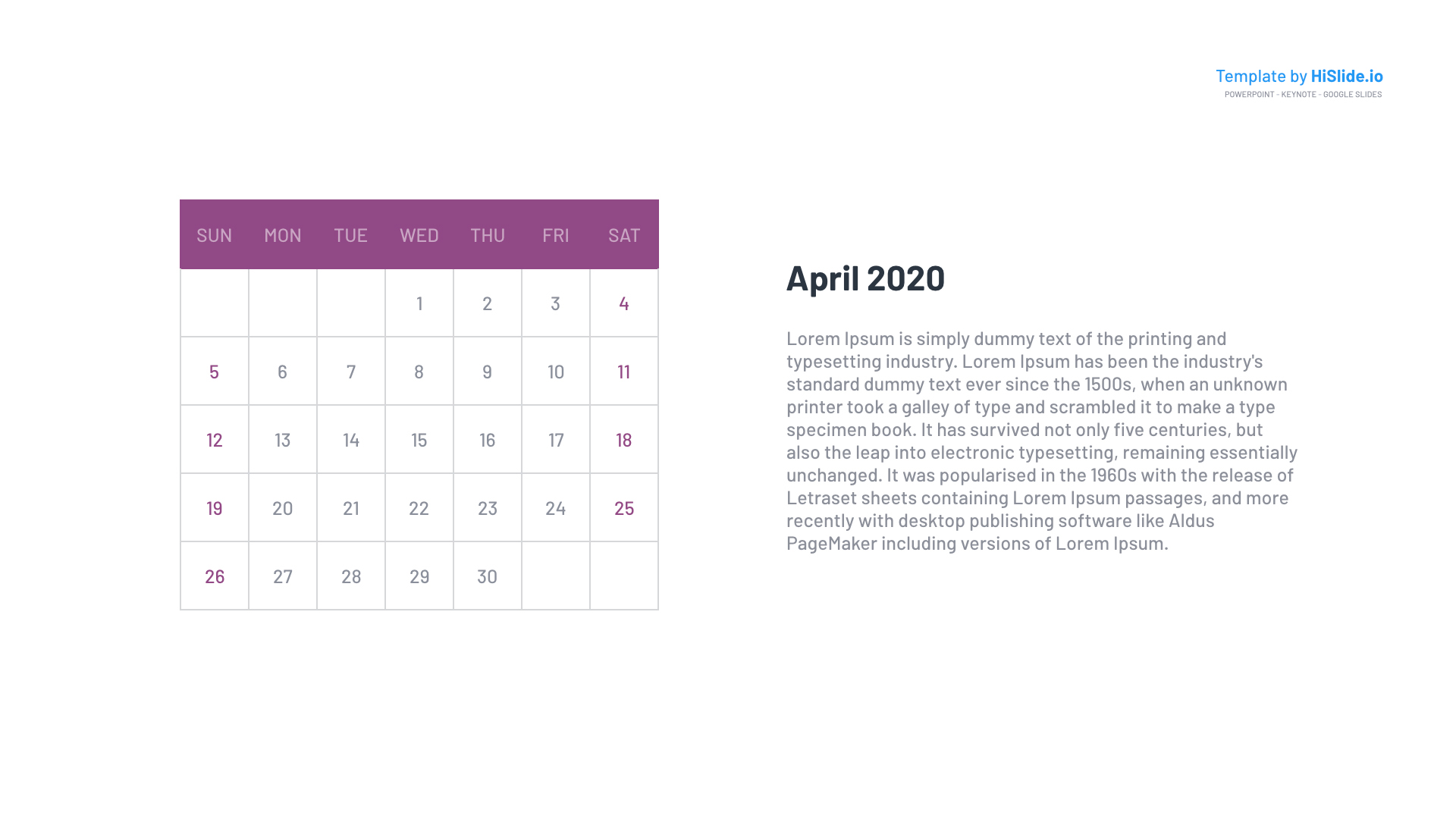 April 2020 Google slides blank Calendar grid