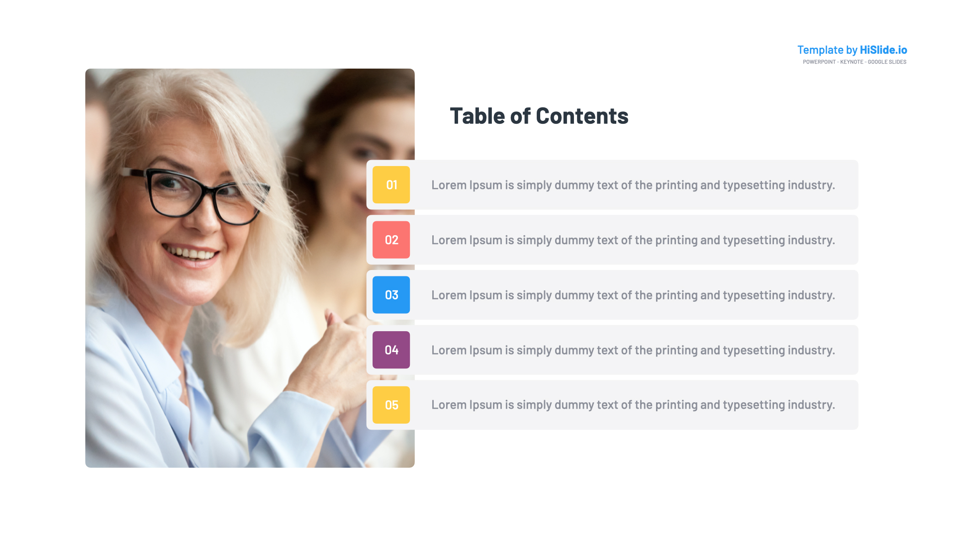 Free Table contents Google slides