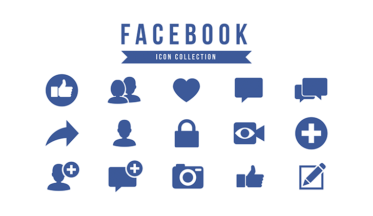 Facebook presentation template (icon pack)