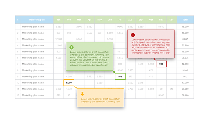 Marketing plan table tooltips free key template