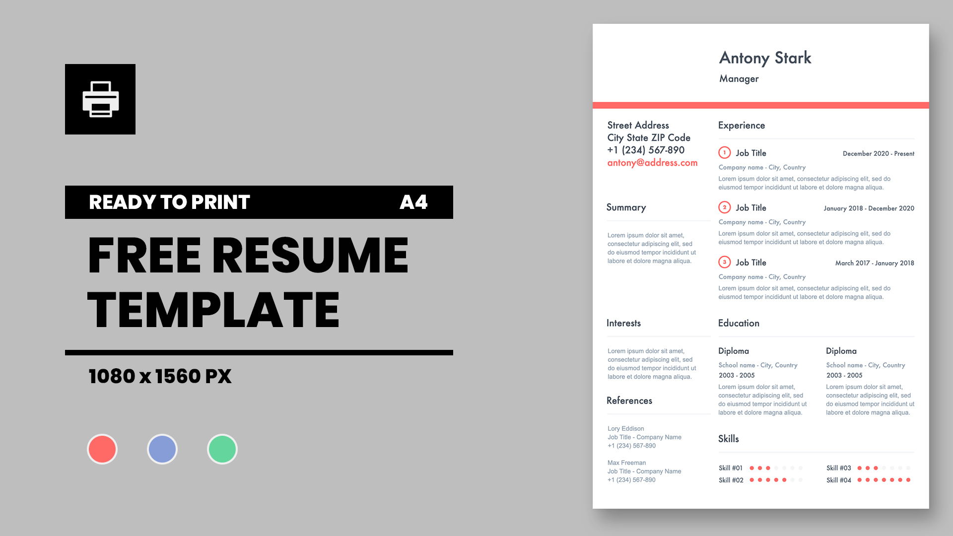 Resume template in Keynote presentation