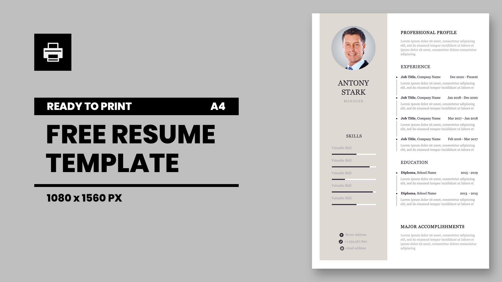Personal CV Keynote template for print
