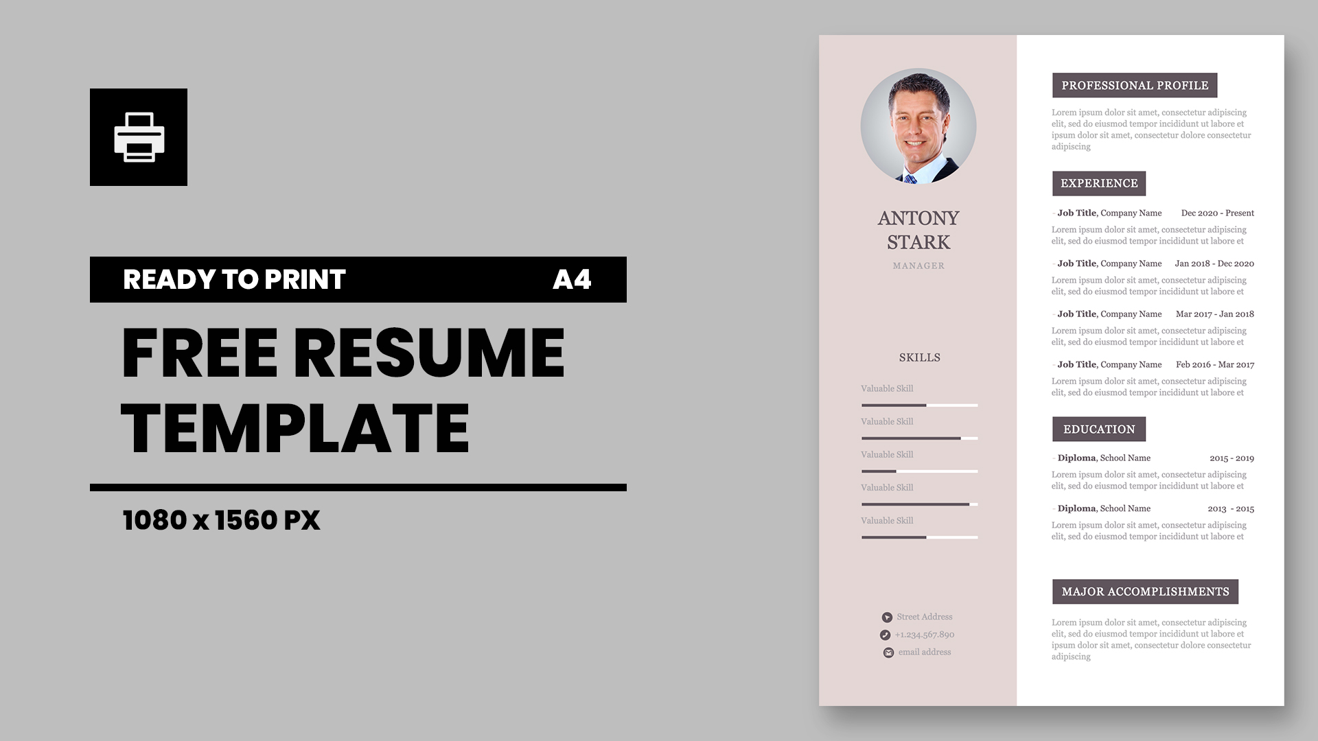 Personal CV A4 Keynote template for print