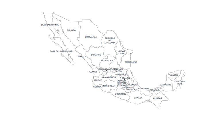 key map of Mexico states