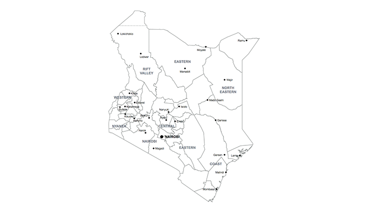 map of Kenya Africa key