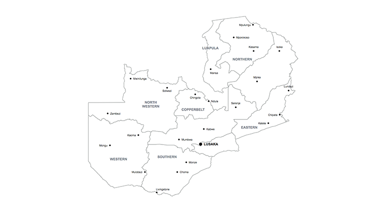 map of Zambia key