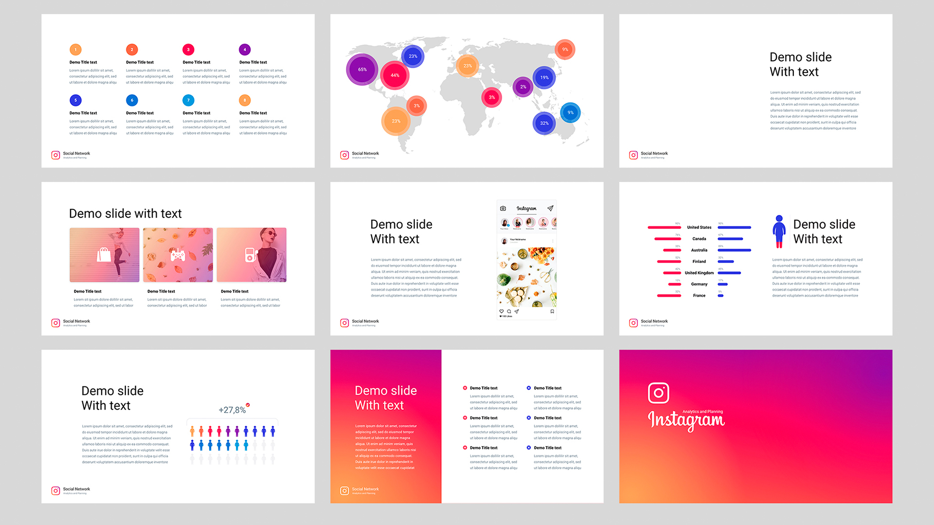 PowerPoint template Instagram analysis