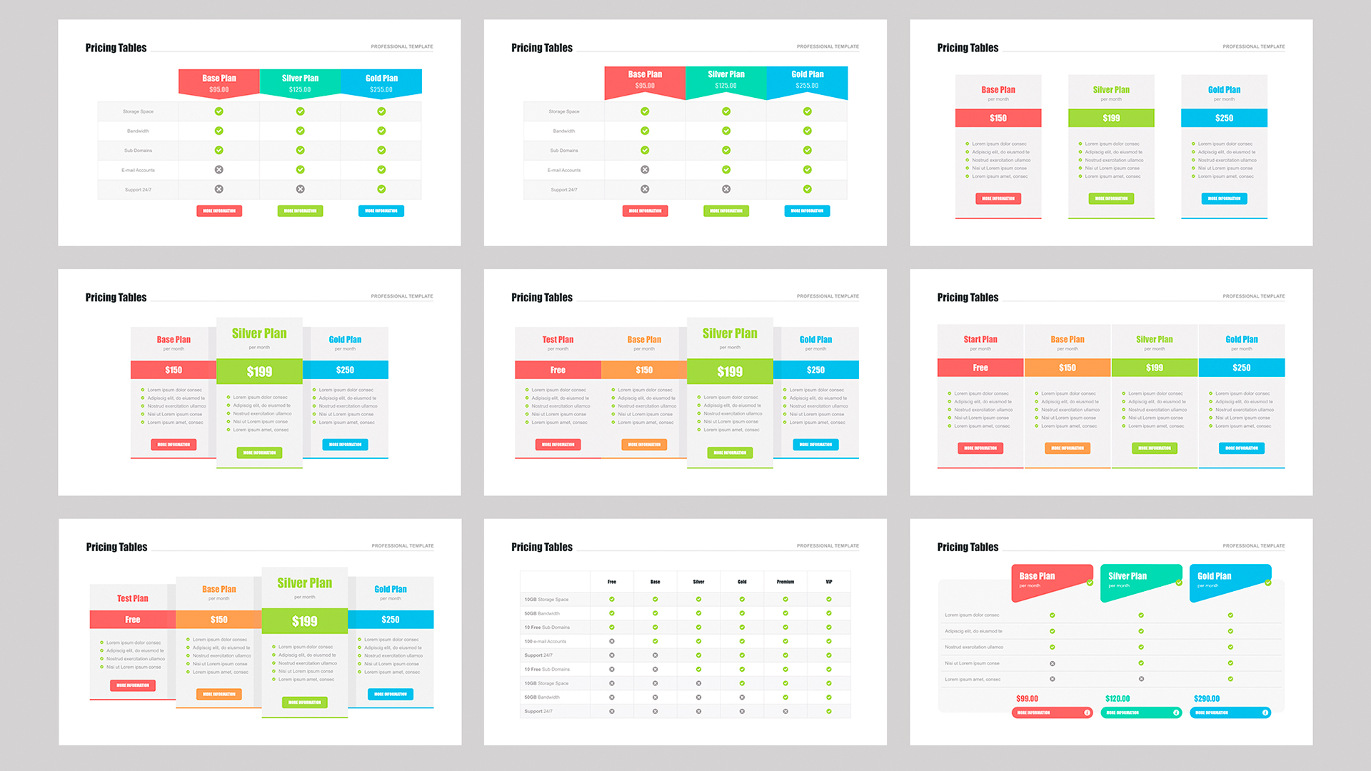 Pricing table template PowerPoint