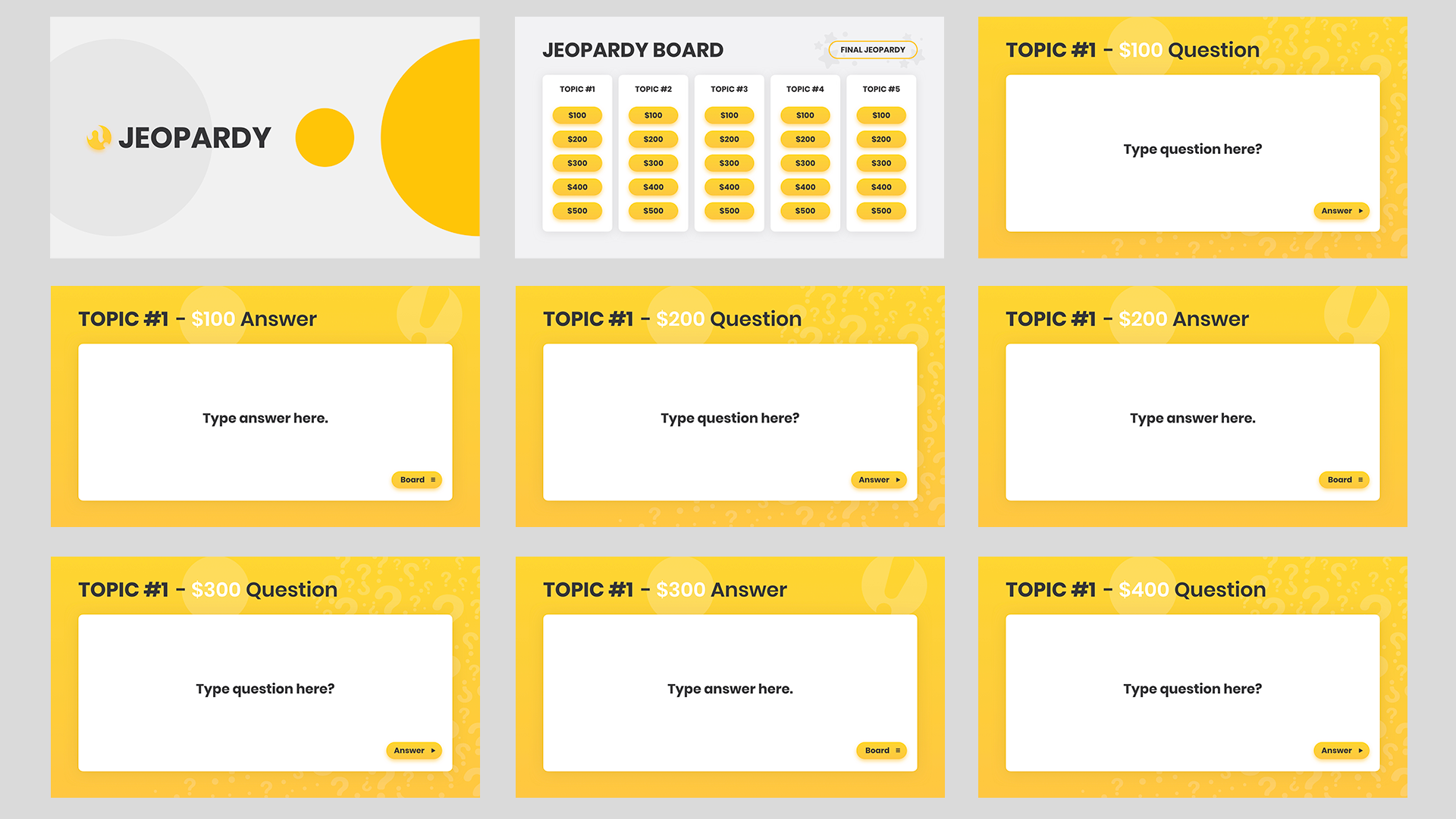 Jeopardy template Google slides